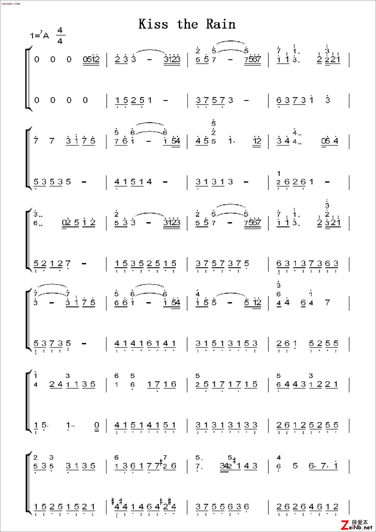 钢琴曲《kiss the rain》简谱; 雨的印记 ,五线谱和简谱; 附kiss the图片