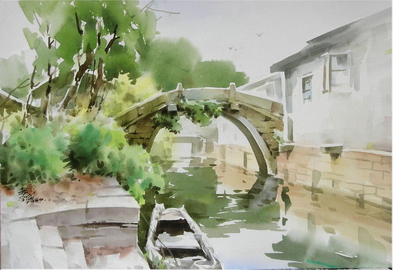 江南古镇 水彩画欣赏 高清图片