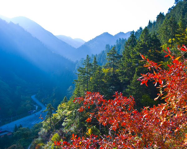 榆中县兴隆山下的风光