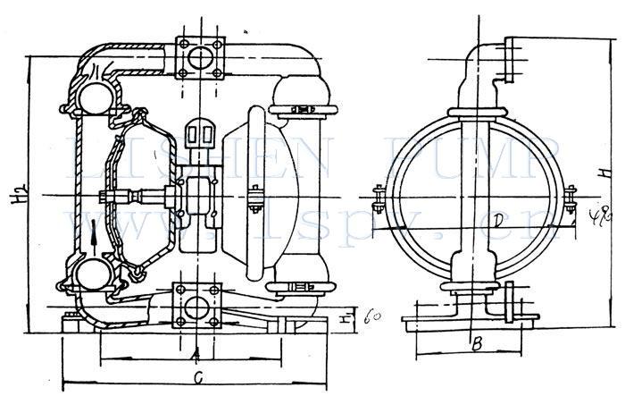 供应qby铝合金不锈钢工程塑料铸钢衬氟气动隔膜泵图片