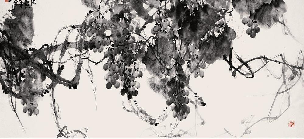 张大林大写意国画《葡萄图》图片