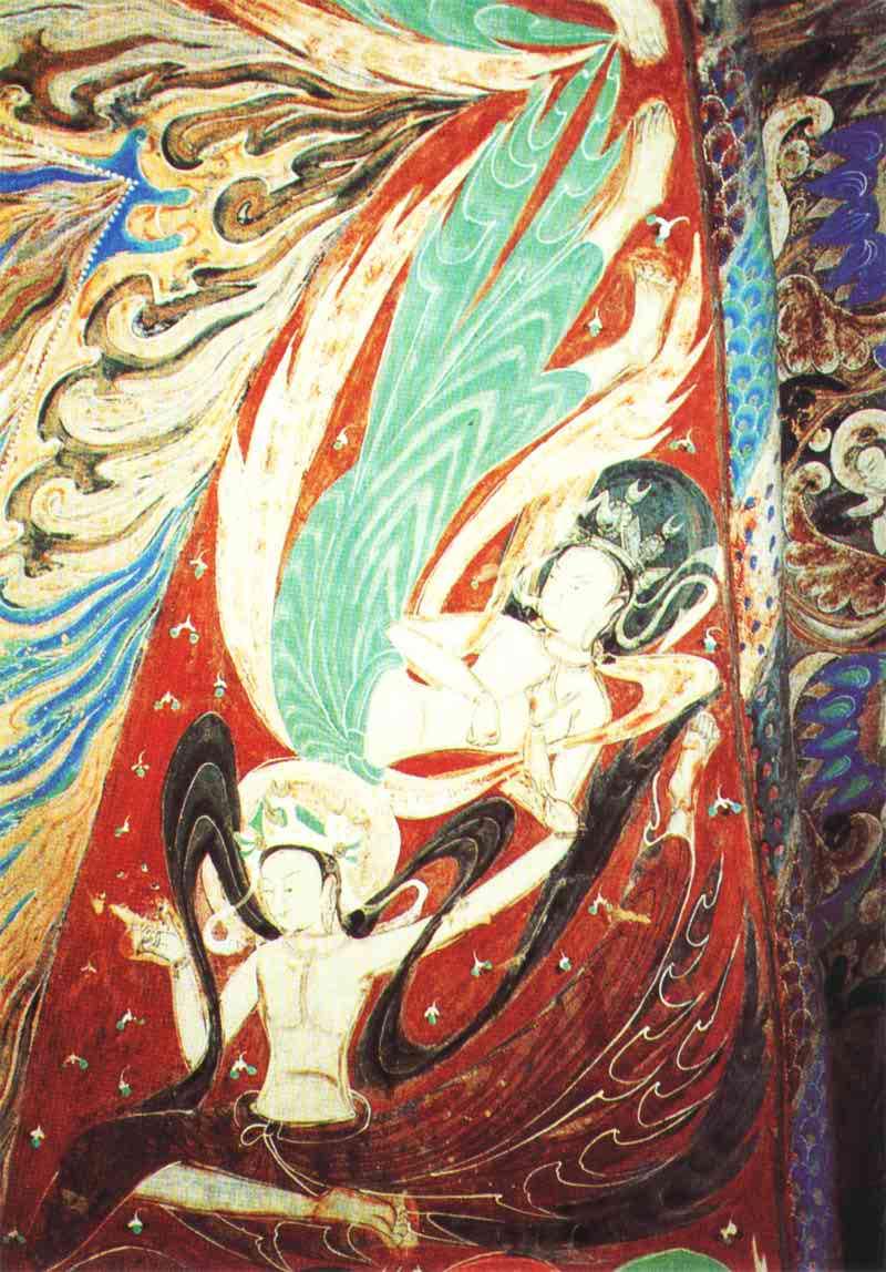 敦煌飞天就是画在敦煌石窟中的飞神,后来成为敦煌壁画艺术的一个专用图片