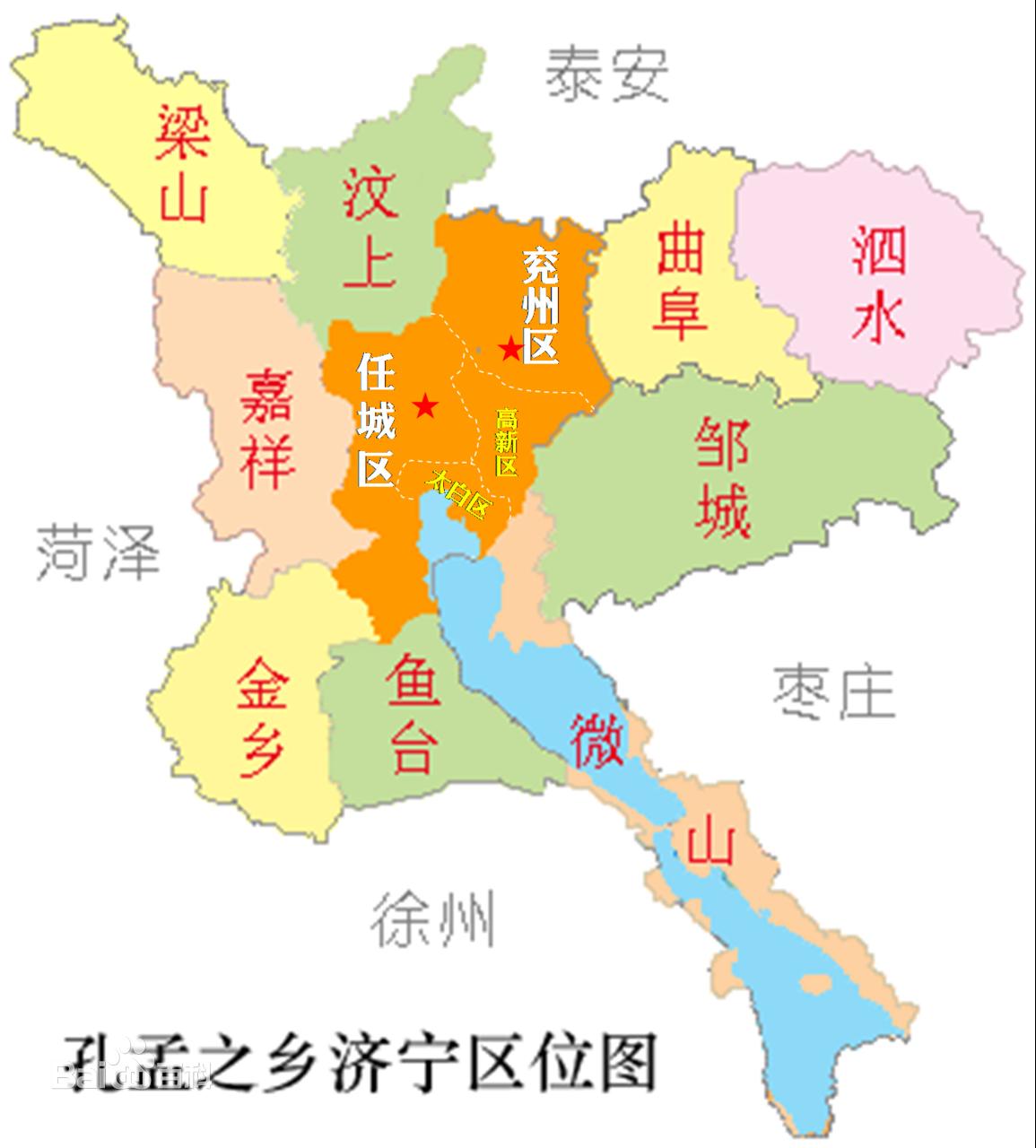 济宁市区地图 济宁城区地图 济宁好玩的地方