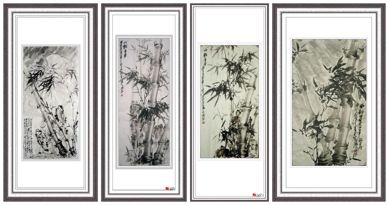 张大林教授国画竹子四条屏作品欣赏;; [转载]张大林教授花鸟画欣赏图片