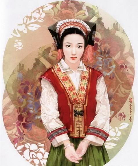 惊艳唯美:中国56个民族手绘插画美女