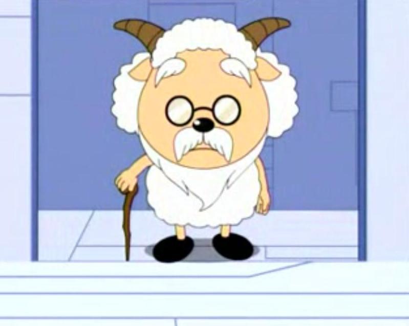 注:《喜羊羊和灰太狼》中的老村长,也就是慢羊羊,戴眼镜.