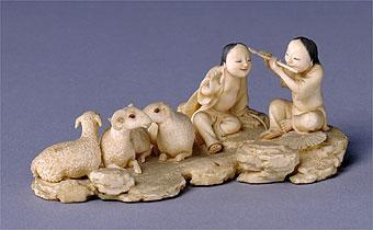 清象牙雕童子牧羊图片