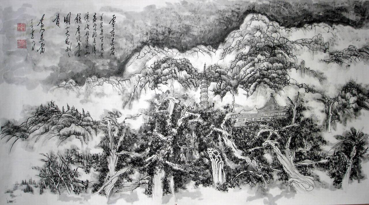 黄东雷的灵岩寺国画