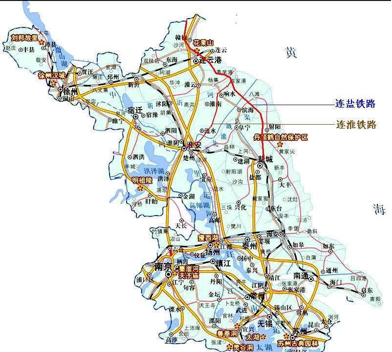 经过冈东部的连盐铁路建设升为复线电气化