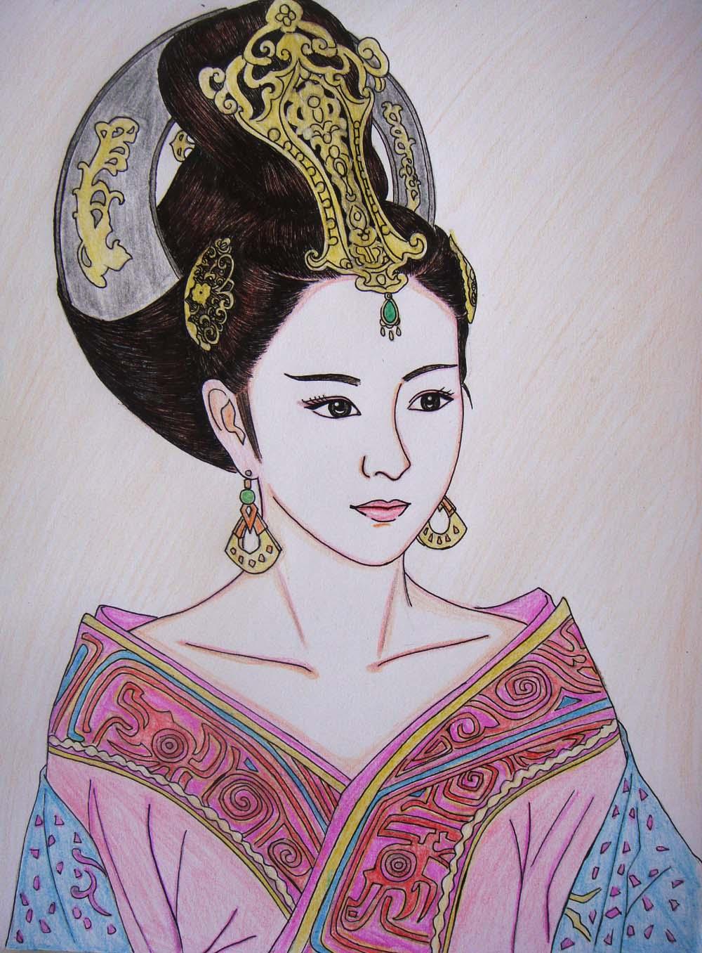 彩色铅笔画古装美女