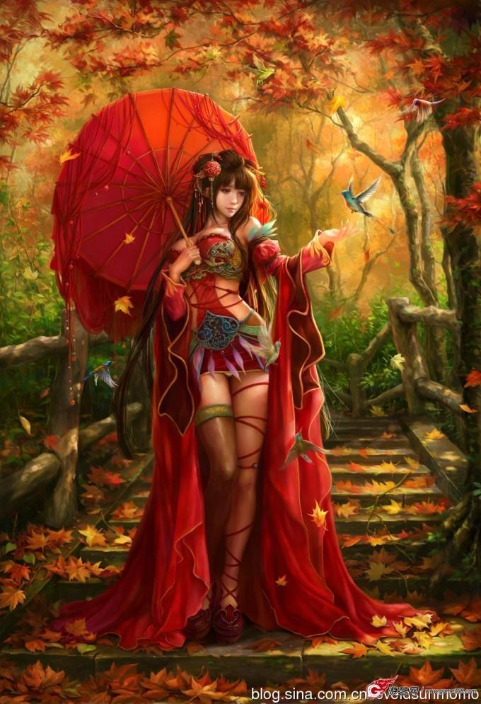 手绘古装红衣美女