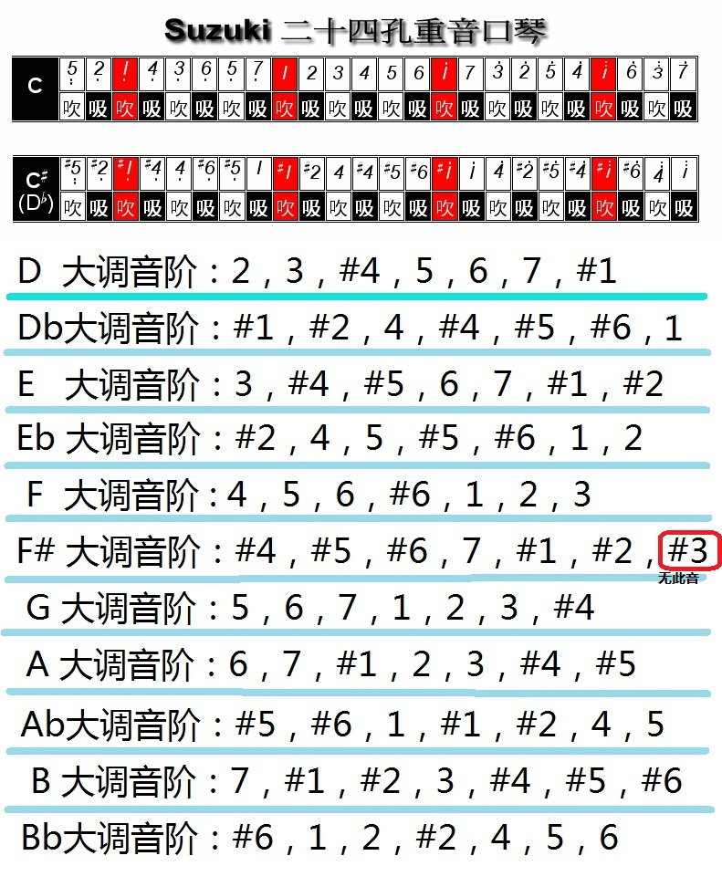 复音双琴(c,c#)转调对照图图片