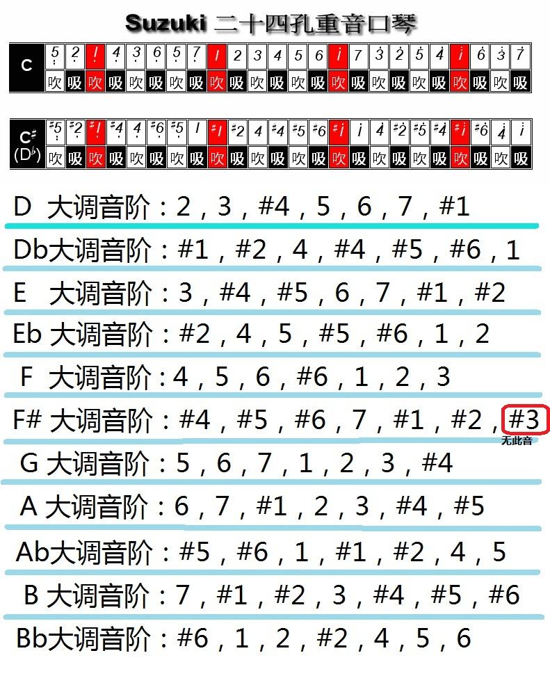 c调24孔复音口琴音阶分享展示图片