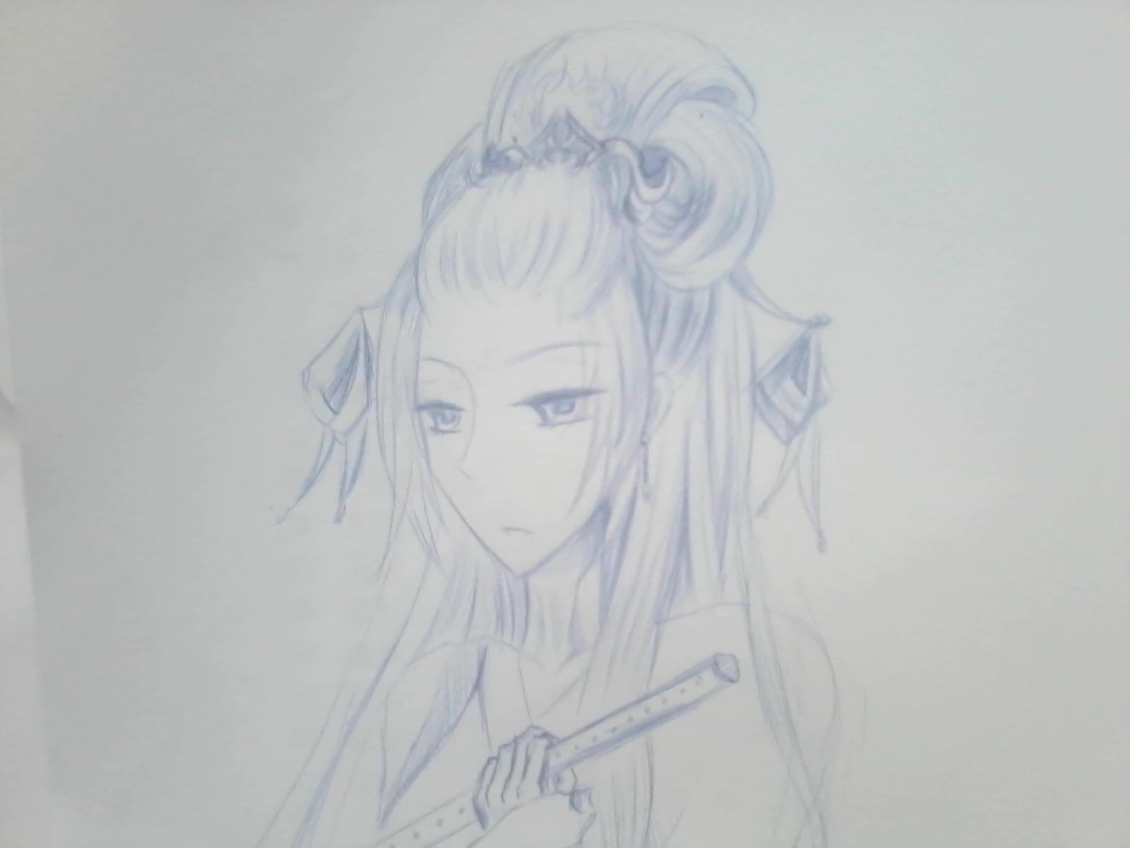 手绘古风男子发型-樊龙模板网图片