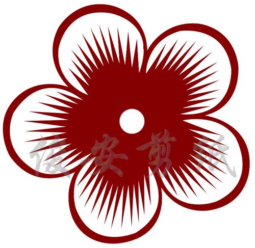 四折团花剪纸纹样