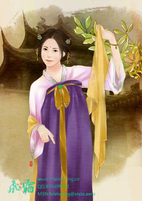 手绘的古装美女_kgb_2012吧图片