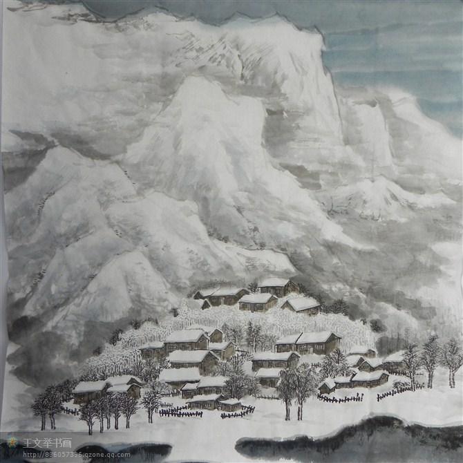 国画山水写意雪景分享展示图片