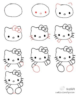 kitty猫的简笔画_xiezi79吧图片