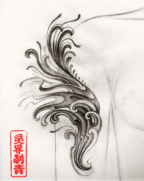 天使翅膀纹身手稿图片图片