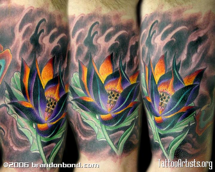 手臂鲤鱼浪花纹身图案图片