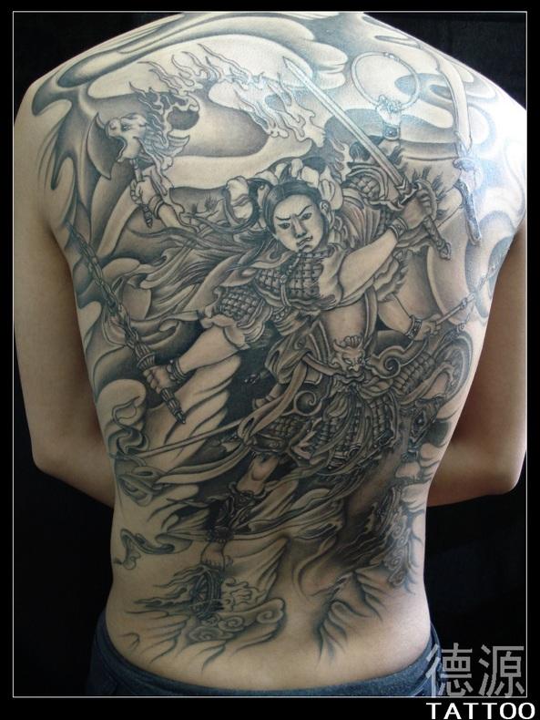 满背纹身图片手稿哪吒分享展示图片