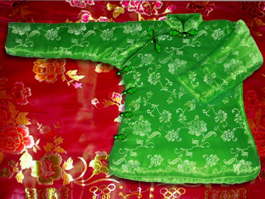 软绸缎大襟棉袄图片