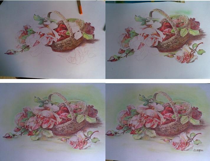 彩色铅笔画——《春天的玫瑰》-彩色铅笔画玫瑰花 怎么画花瓶图片