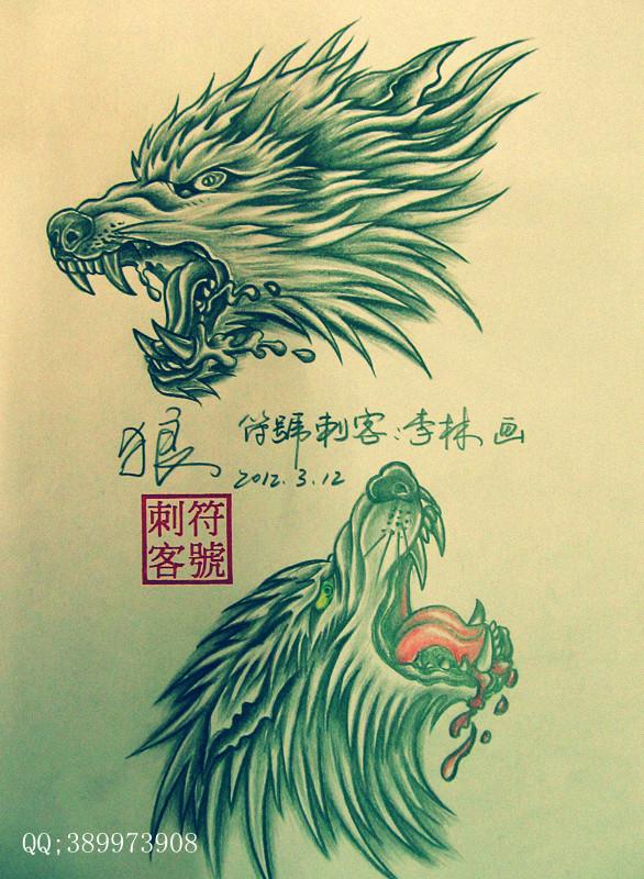 最新滴血狼头纹身手稿分享展示图片