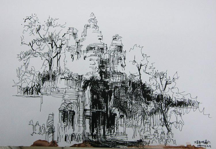 古建筑速写钢笔画_钢笔画建筑速写 图,园林钢笔画速写图片