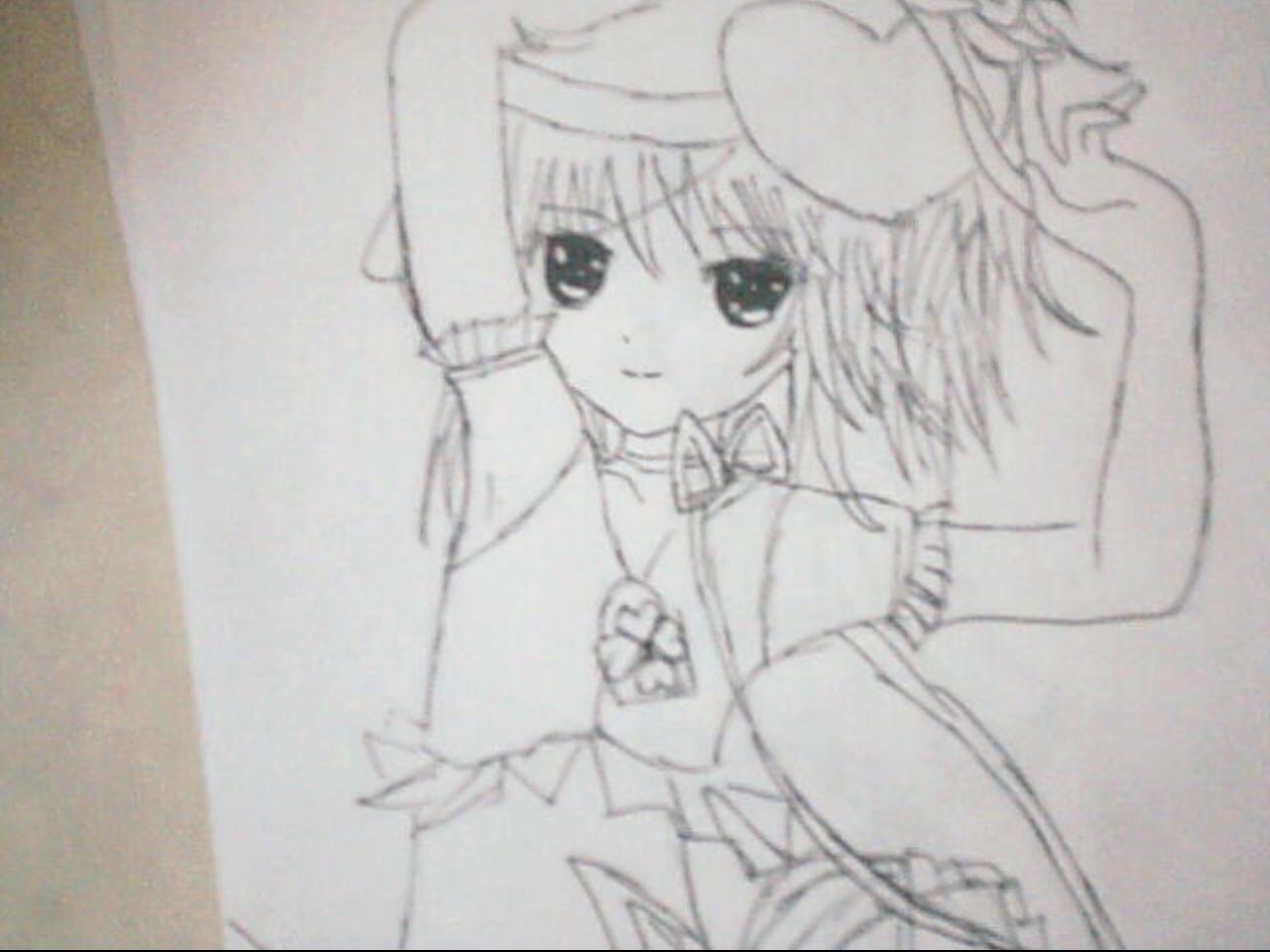 守护甜心女生简笔画图片