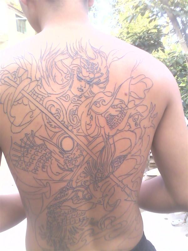 后背纹身图案赵子龙抱