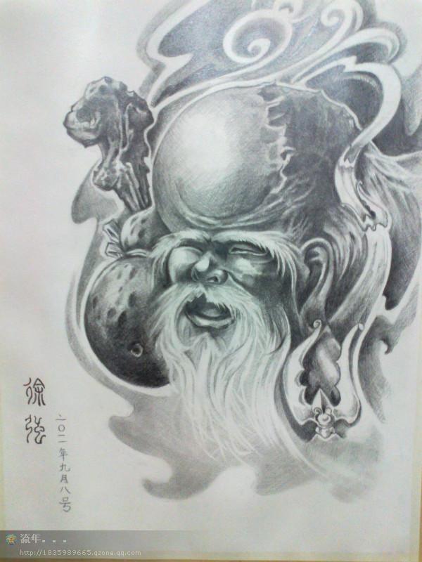 艺妓纹身手稿::虎头纹身::傅图片