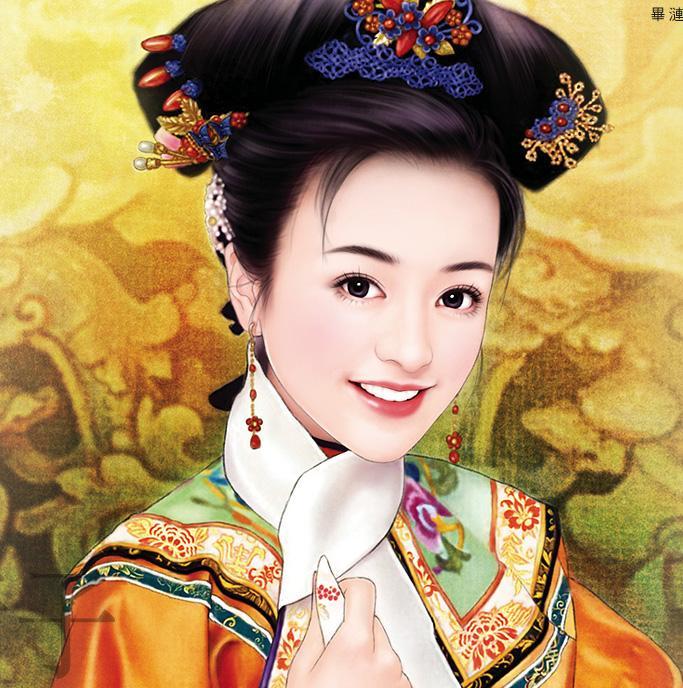 清手绘古装美女图片