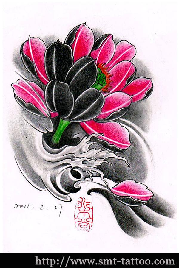 浪花中的鲤鱼莲花纹身手稿图片
