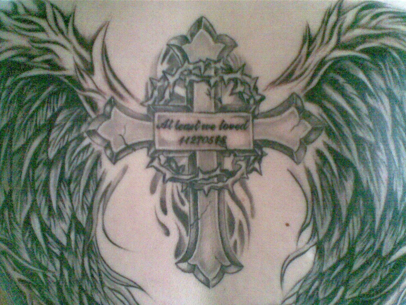 手臂天使翅膀纹身手稿图片