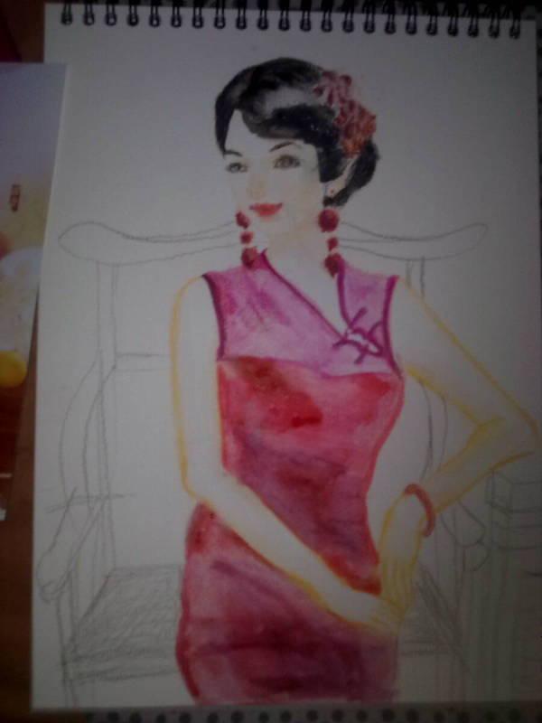 我的彩铅古装美女图片