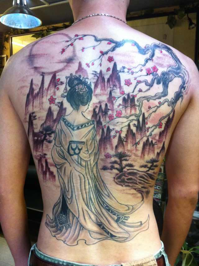 山水楼阁纹身图案分享展示图片
