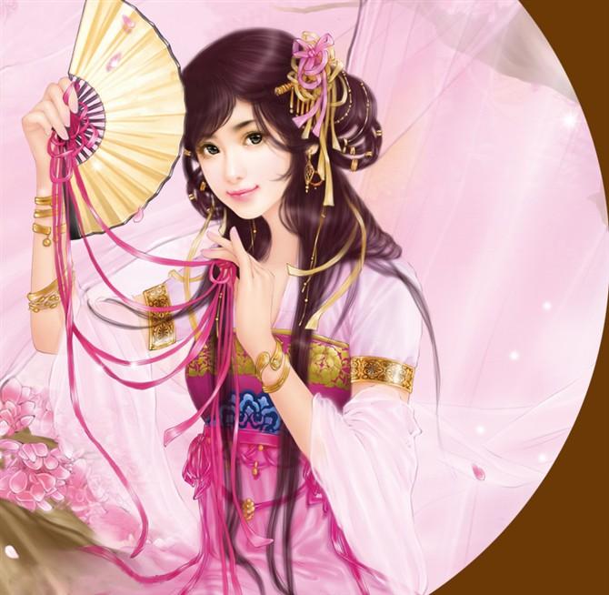 袖剑的手绘古装女子图