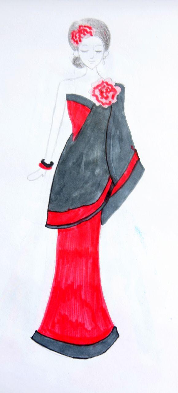 婚纱设计手稿素描图 礼服设计图手稿 衣服的画法 素描鱼尾裙婚纱图手稿图片