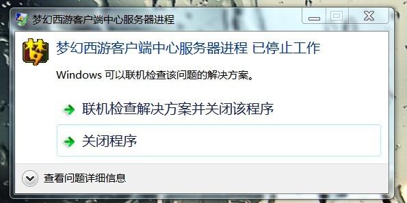 梦幻西游客户端中心服务器进程停止工作!图片