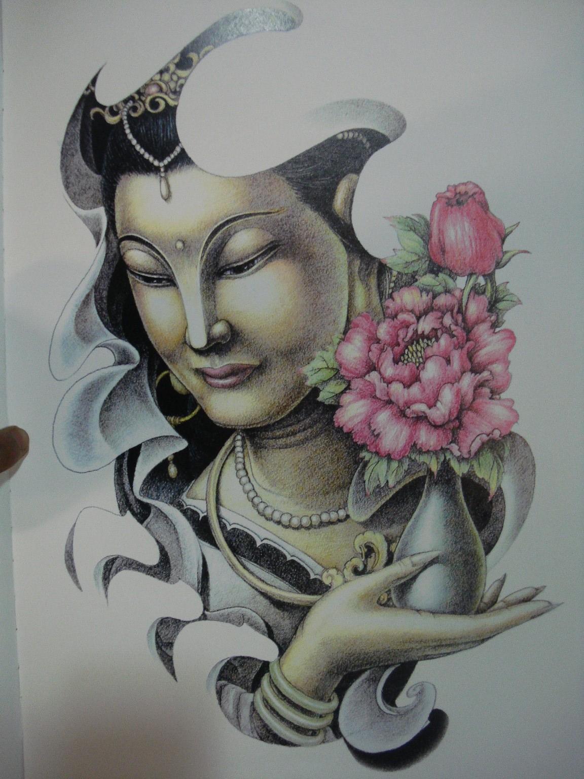 佛包大臂纹身手稿分享展示图片