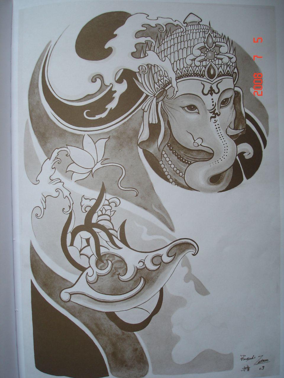 花木兰半甲纹身手稿分享展示图片