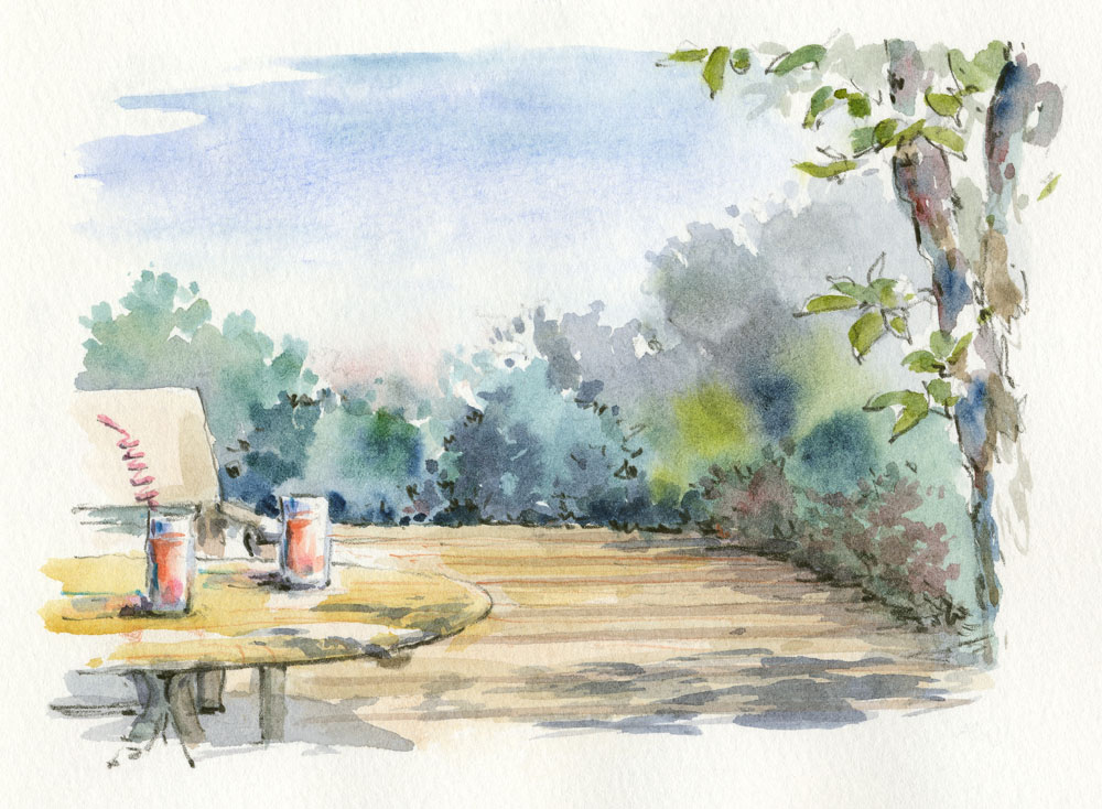 简单,清新又雅致的水彩风景速写图片