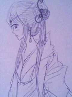 手绘铅笔图片古装美女
