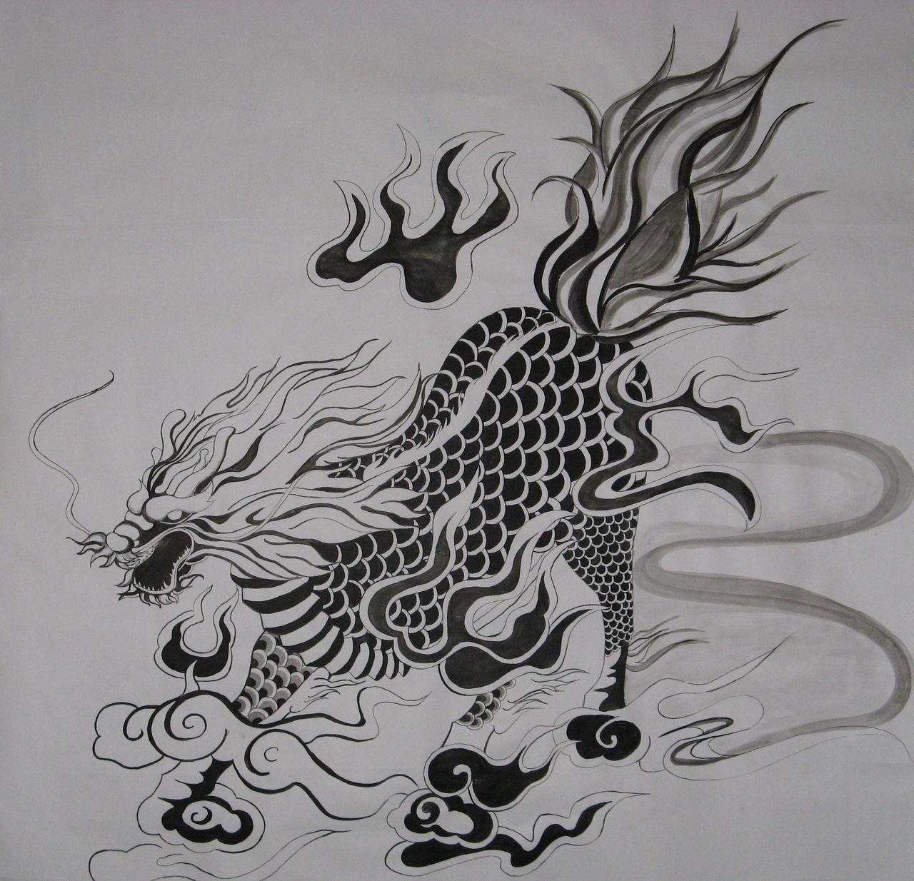 画麒麟_麒麟纹身手绘图分享展示