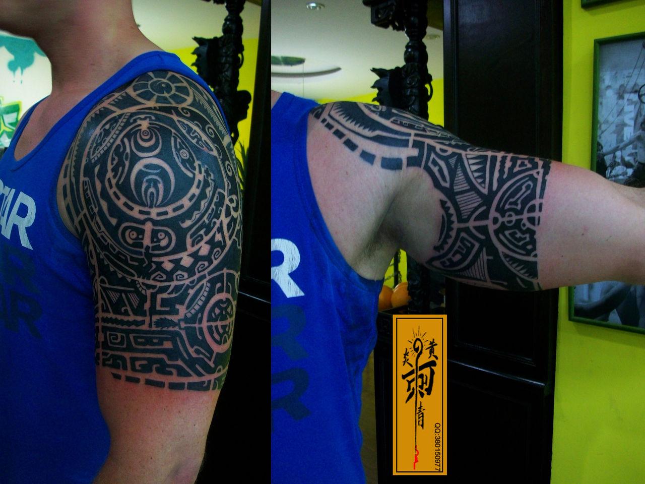 纹亲人半甲纹身分享展示图片
