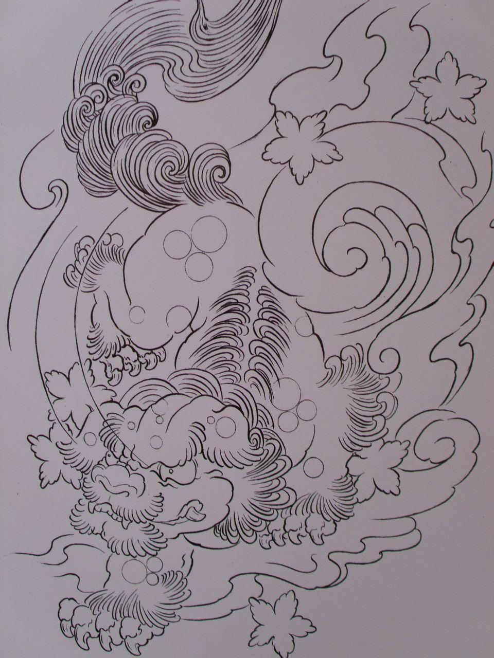 唐狮子花腿纹身手稿分享展示图片