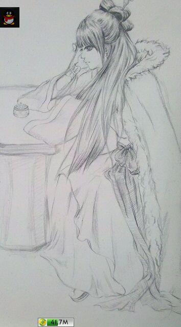 我又用自动铅笔画了一个古装美女图片