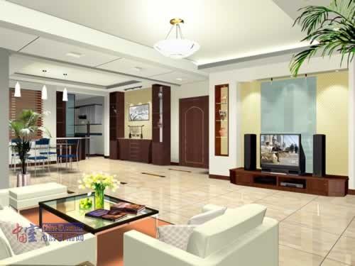 玻璃家具布置清凉客厅