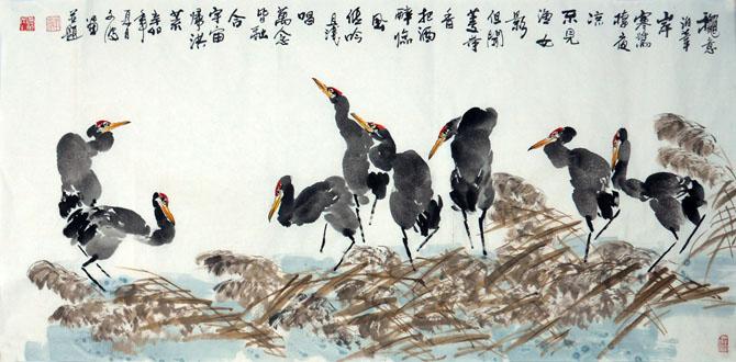 张文波先生作品《群鹭图》138cm*68cm